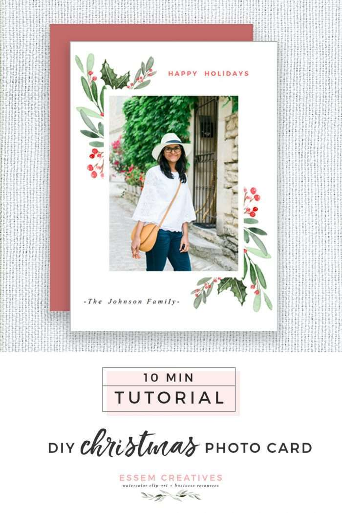 DIY Watercolor Christmas Photo Card Tutorial, Simple & Easy Holiday Card for Beginners   Use this simple & easy to follow video tutorial to make a DIY christmas card for your family   Holiday crafts, DIY crafts, 10 minute DIY project >>