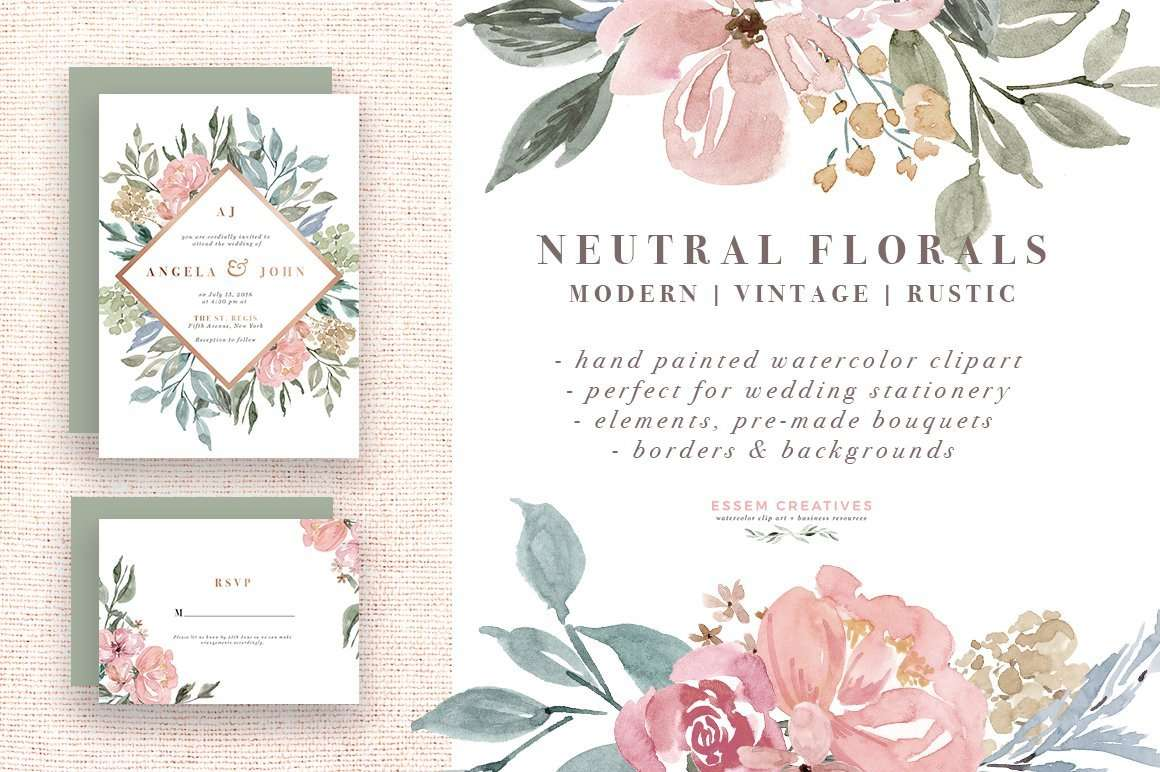 Neutral Watercolor Flowers Clipart Floral Borders Frames Background Rustic