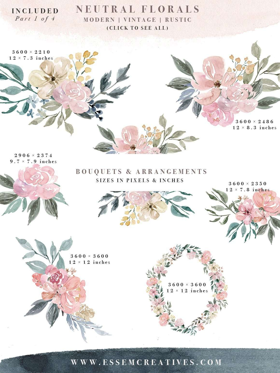 Neutral Watercolor Flowers Clipart Floral Borders Frames For Wedding