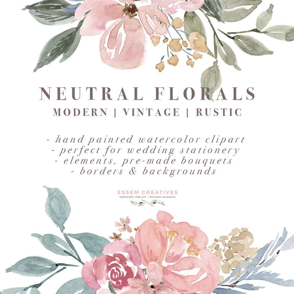neutral watercolor flowers clipart  floral borders  u0026 frames for wedding