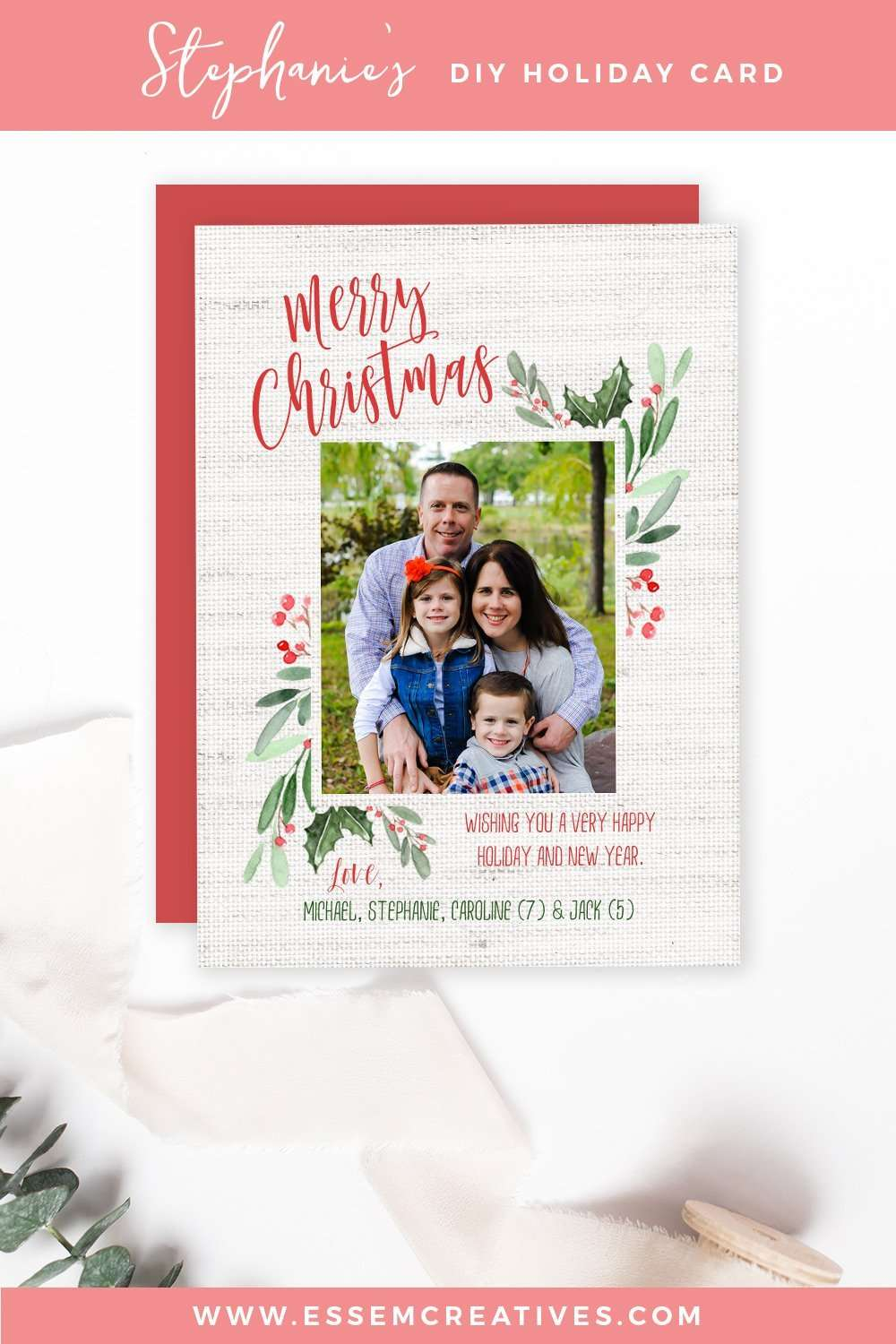 DIY Watercolor Holiday Photo Card Tutorial, Simple & Easy Holiday Card for Beginners | Use this simple & easy to follow video tutorial to make a DIY christmas card for your family | Holiday crafts, DIY crafts, 10 minute DIY project >>