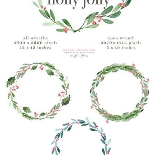 "Watercolor Christmas Wreath Clipart, Christmas Card Templates, 5x7 A4 digital borders & frames, Watercolor Holly Jolly Clipart, Christmas Wreath Graphics, Christmas Card Templates, Watercolor Holiday Card Borders, 5x7 Digital Background, A4 Christmas Border, Seasons Greeting, Corporate Card Background ""Holly Jolly""is a watercolor christmas clipart set. It includes christmas holly wreaths, pre-made photo card & christmas card backgrounds & borders in 5x7 inches & A4 size, and also separate holly branches, mistle toe & more for DIY designs."