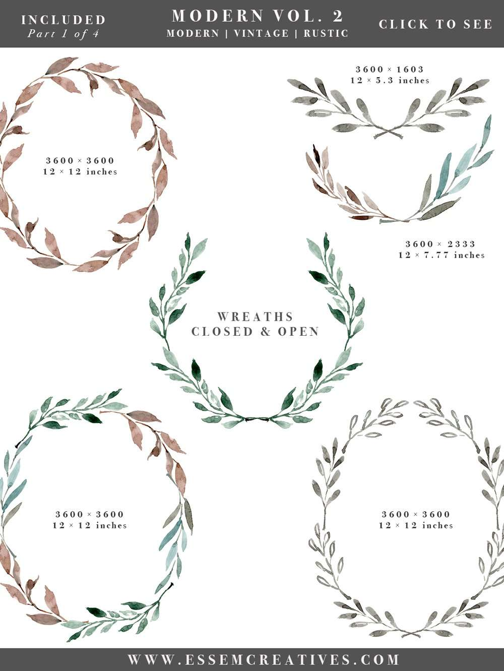 Superbe Watercolor Leaves Wreaths Clipart, Floral Frames Graphics, Wedding  Invitation Clipart, Eucalyptus Branch,