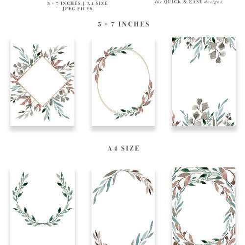 Watercolor Leaves Wreaths Clipart, Floral Frames Graphics, Wedding Invitation Clipart, Eucalyptus Branch, Ginkgo Leaf, Watercolor Leaf Logo, Greenery clipart, elegant, fall, autumn, winter wedding invitations, DIY stationery. Perfect for designing modern minimalist wedding invitations, table numbers, welcome signs, organic logo, blog branding, website headers, social media posts, printable home decor and art prints