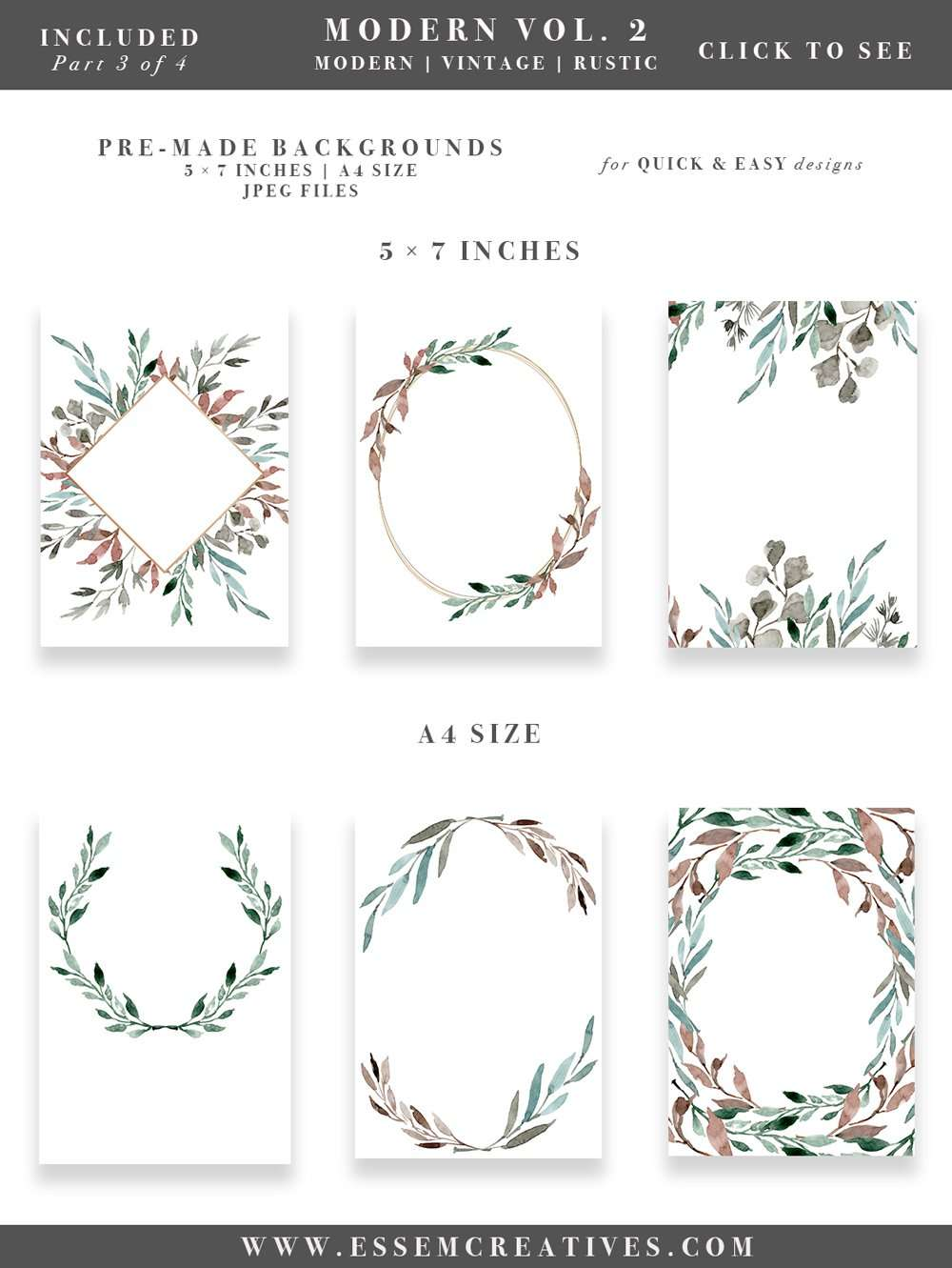 Watercolor Leaves Wreaths Clipart DIY Wedding Invitations