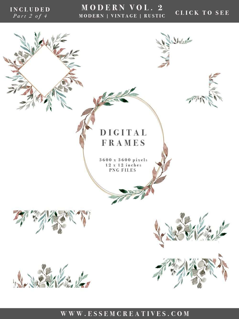 watercolor leaves wreaths clipart diy watercolor wedding