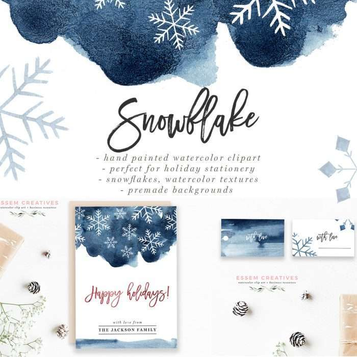 Watercolor Snowflake clipart, Winter Graphics, Snow flake border, Stock Illustrations, Winte 5x7 Digital Paper & Card Templates, Winter Background, DIY Watercolor Holiday Cards Painted in winter colors of deep navy blue and purple, these are perfect for holiday cards, greeting cards, printable wall art, christmas party invitation, winter wedding stationery, gift tags, wrapping paper and more. Check out SNOWFLAKE by Essem Creatives (available for commercial use as well)>>