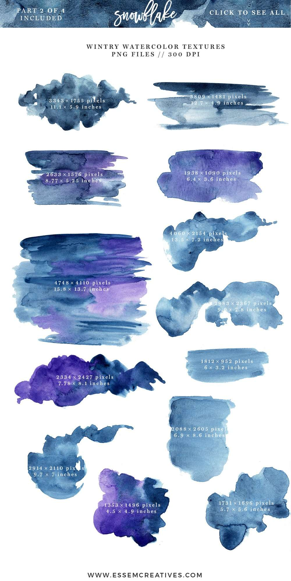 watercolor snowflakes clipart  winter graphics  5x7