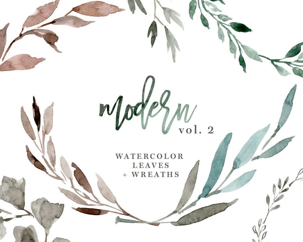Watercolour Leaves Wreaths Clipart Greenery Wedding