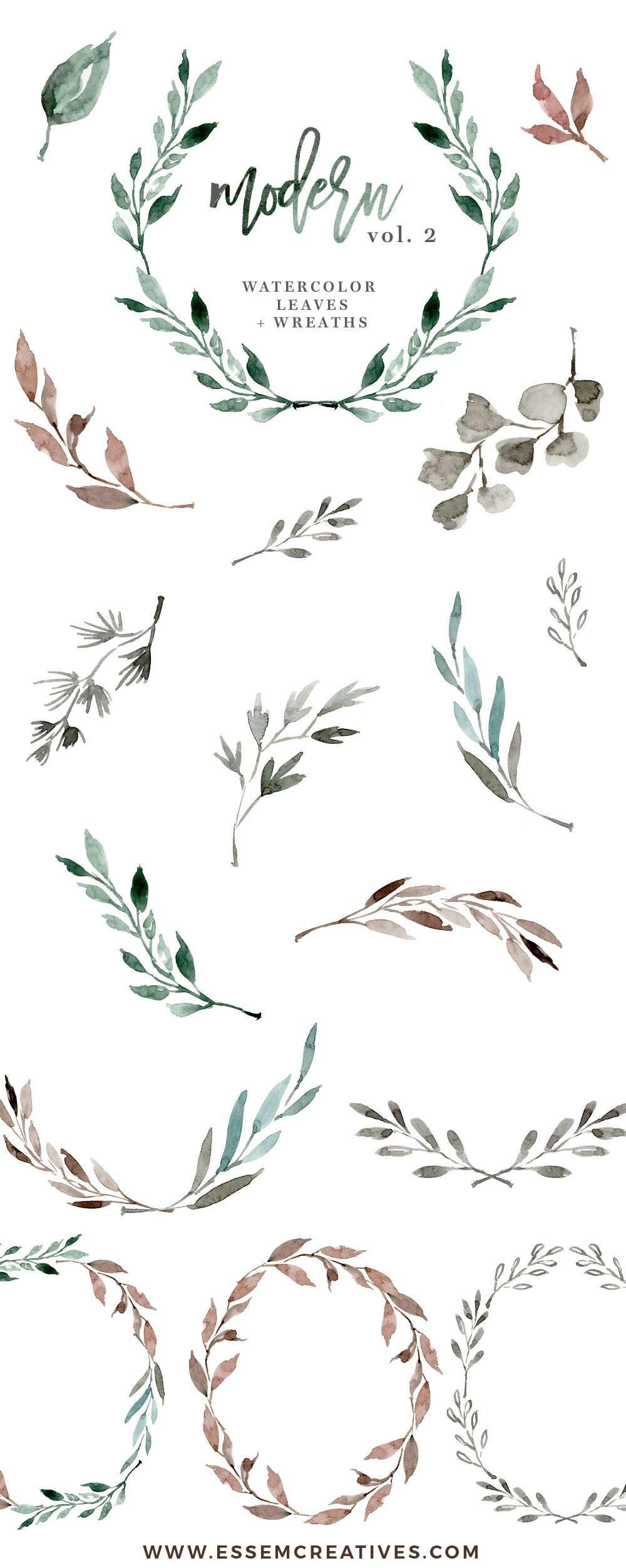 Watercolour Wreath Clipart Watercolor Leaves Floral Wedding Eucalyptus Branch