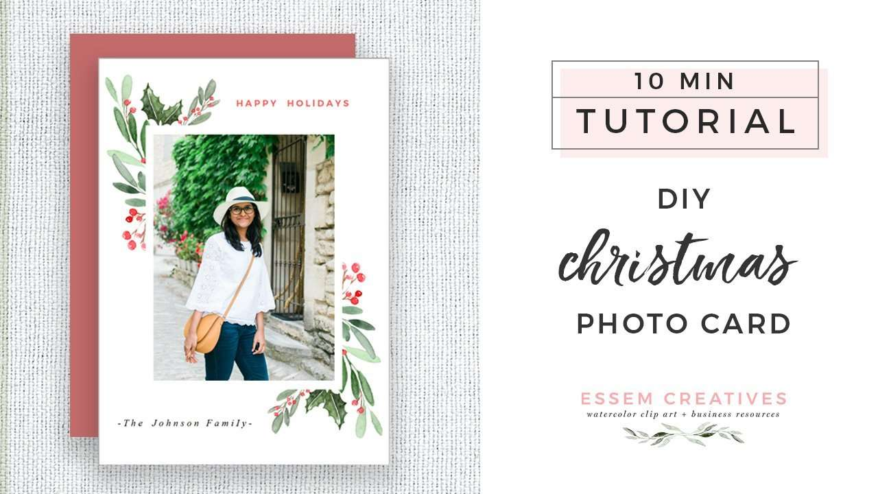 DIY Watercolor Christmas Photo Card Tutorial, Simple & Easy Holiday Card for Beginners | Use this simple & easy to follow video tutorial to make a DIY christmas card for your family | Holiday crafts, DIY crafts, 10 minute DIY project >>