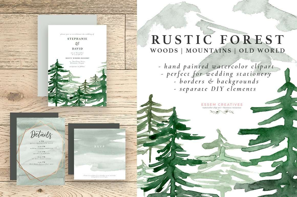 Rustic Forest Watercolor Backgrounds, Geometric Rose Gold Wedding