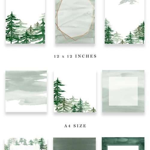 Rustic Forest Watercolor Backgrounds, Geometric Rose Gold Wedding Invitation Clipart, Conifers Pine Trees Mountains Hills Woodland Graphics, Watercolor Wedding Invitations, Printable Rustic Mountain Invites & Save the Dates