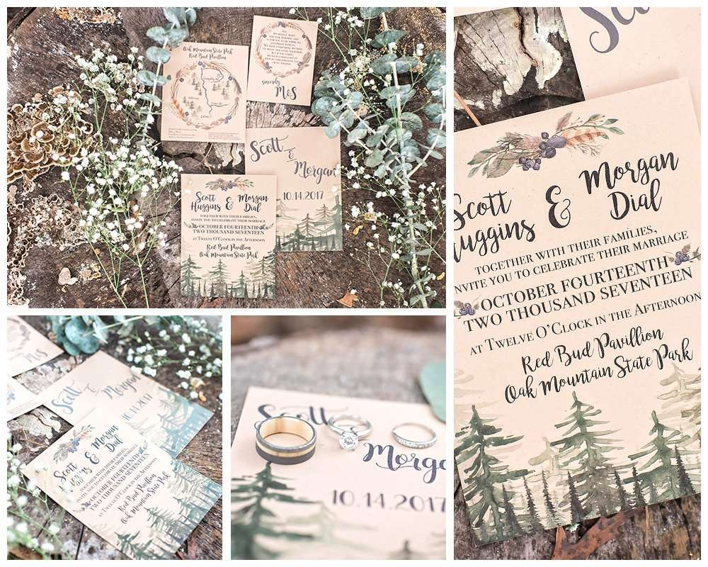 Rustic Mountain Wedding at Oak Mountain State Park, Alabama, DIY Wedding Planning Ideas, Invitations Stationery & Details, Watercolor Wedding Invitations, Mountains Clipart, Rustic Clipart, Printable Wedding Invitations, Rustic Wedding Inspiration, Winter Wedding Ideas