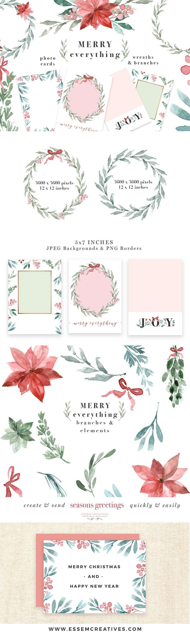 Watercolor Christmas Card Template Christmas Wreath