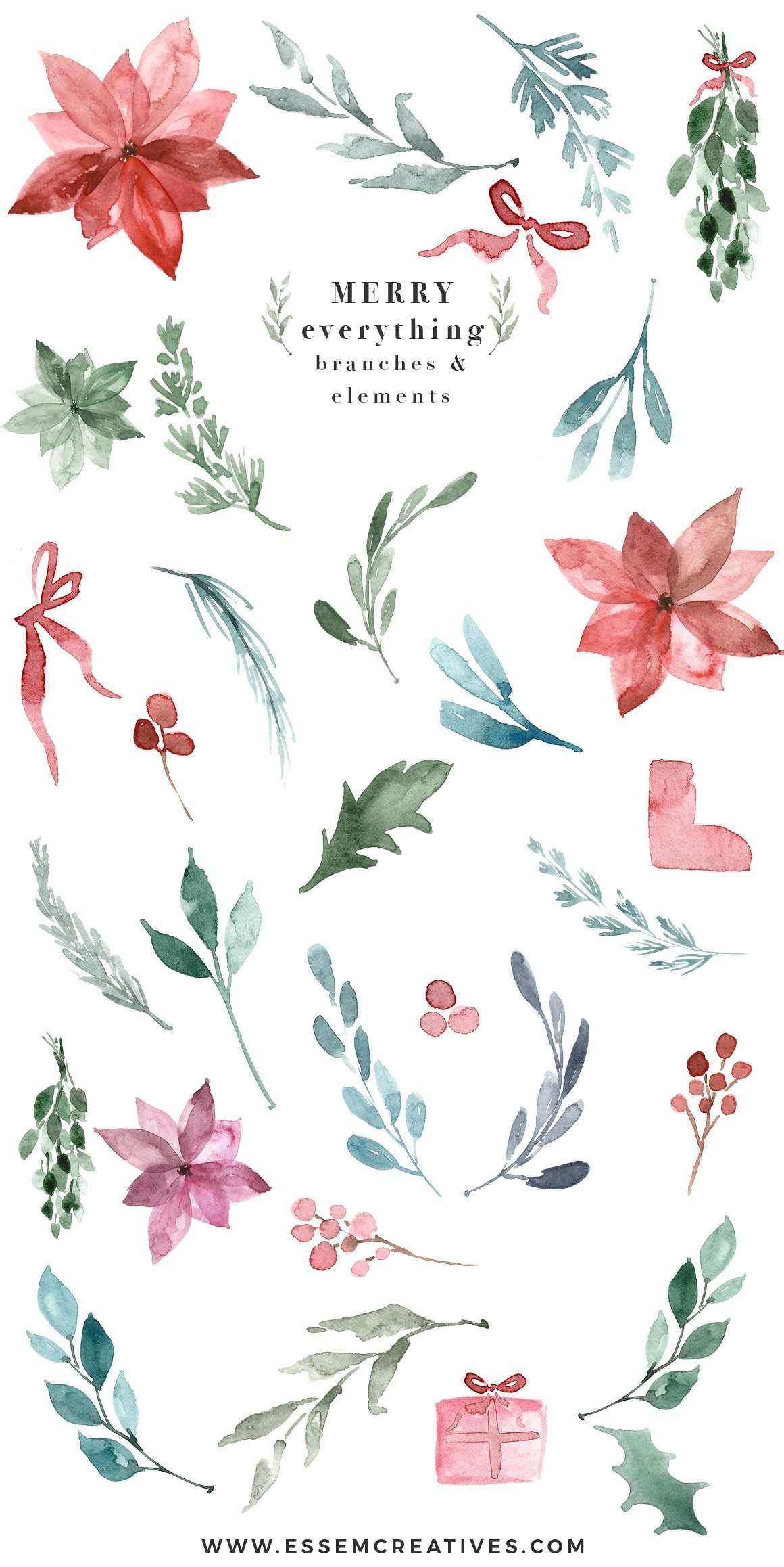 Watercolor Christmas Card Template Christmas Wreath Clipart Mistletoe