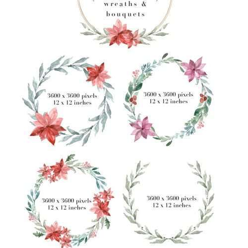 MERRY EVERYTHING is a watercolor christmas card template, wreaths & clipart set. It includes christmas & festive wreaths, pre-made photo card & christmas card backgrounds & borders in 5x7 inches & A4 size, and also separate branches, poinsettia flowers, mistletoe bunch tied with a ribbon, & more for DIY designs. To design a christmas card quickly & easily, simply open one of the pre-made backgrounds or wreaths, add your custom text & voila! Your card is ready to go. Use these for corporate card designs or for your friends & family.