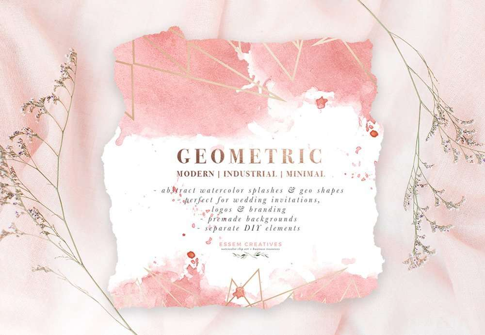 DIY Geometric Watercolor Wedding Invitation Backgrounds U0026 Clipart, Table  Number Decorations DIY | This Set