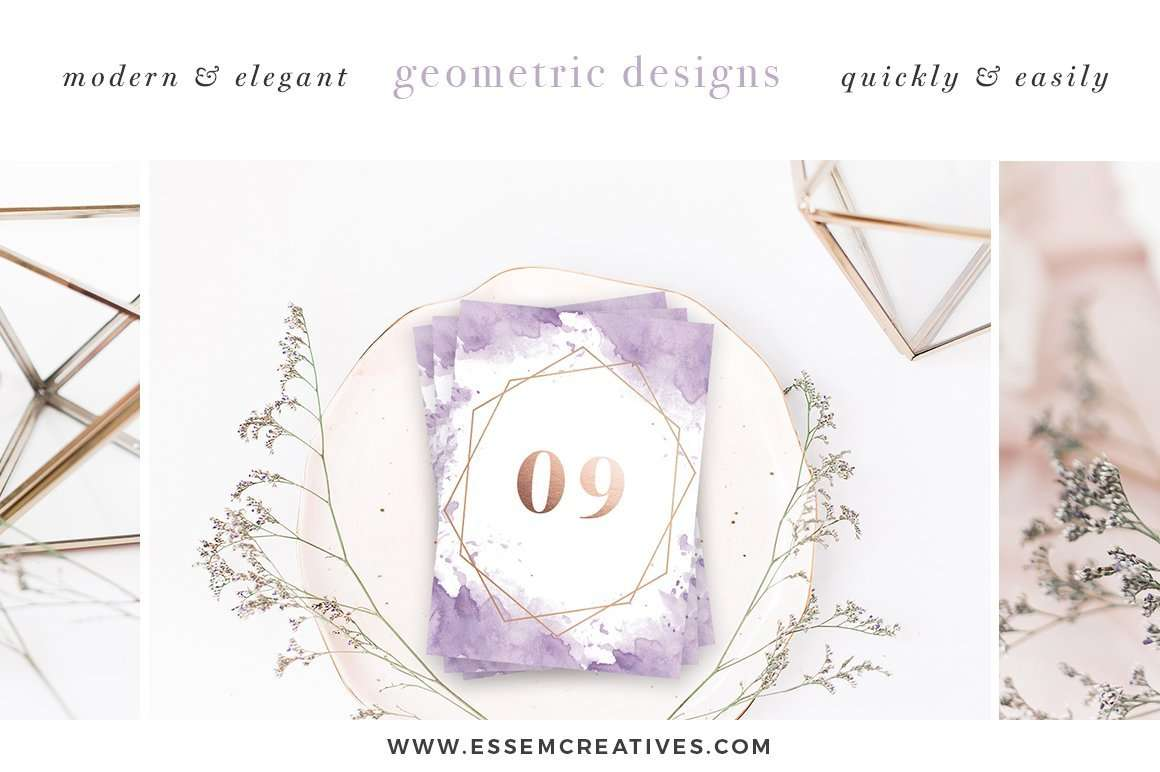 DIY Geometric Watercolor Wedding Invitation Backgrounds & Clipart