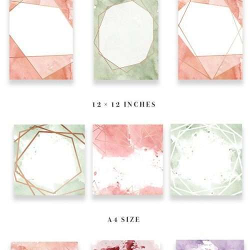 DIY Geometric Watercolor Wedding Invitation Backgrounds & Clipart, Table Number Decorations DIY | This set is perfect for watercolor wedding invitations, save the dates, event invitations, logos & branding & more. This set contains modern abstract watercolor splashes and rose gold geometric shapes to go with them. Also included are pre-made watercolor backgrounds for quick & easy projects. Click to see more>>