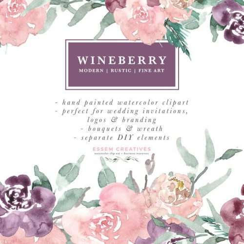 Wine Berry Burgundy Watercolor Flowers Clipart Bouquets Wreaths For Wedding Invitations Logo