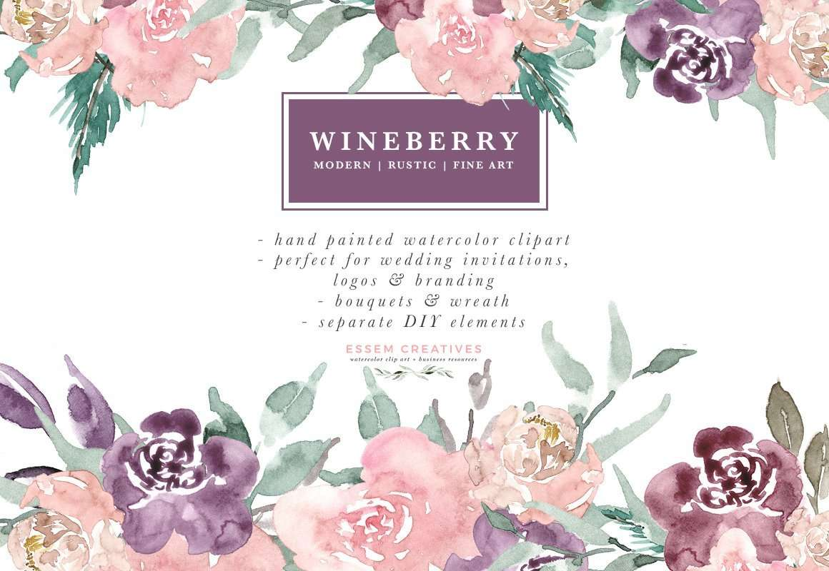 Wine Berry Burgundy Watercolor Flowers Clipart, Watercolor Bouquets