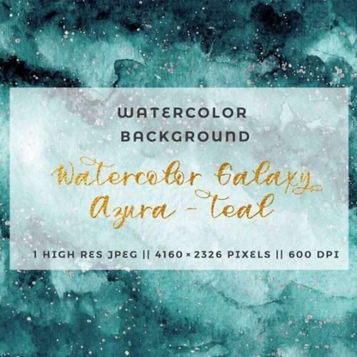 This is a single hand painted Teal Watercolor Celestial Galaxy Background. This charming watercolor background is perfect for your watercolor design project. Use this in wedding invitations, table numbers, bridal shower party decor, birthday party invites, scrapbooking projects, website branding and more! Click to check it out>>