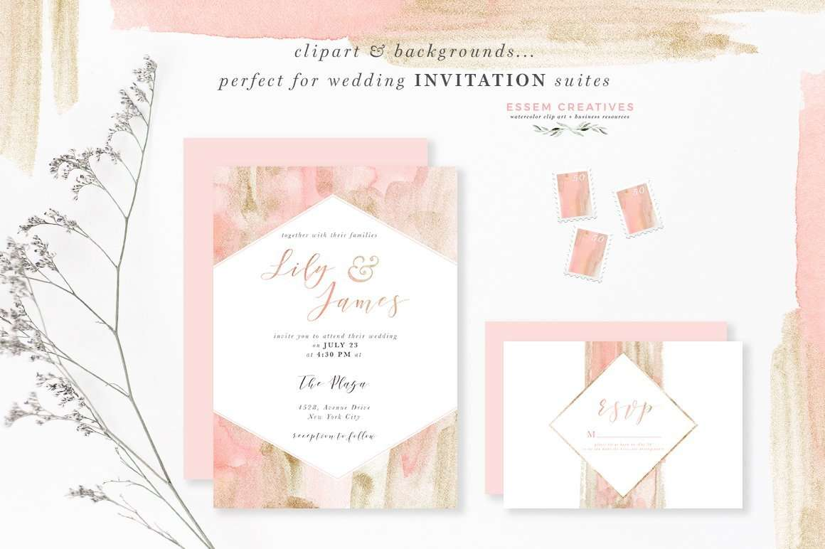 Blush Pink and Gold Watercolor Textures for Wedding Invitations & more