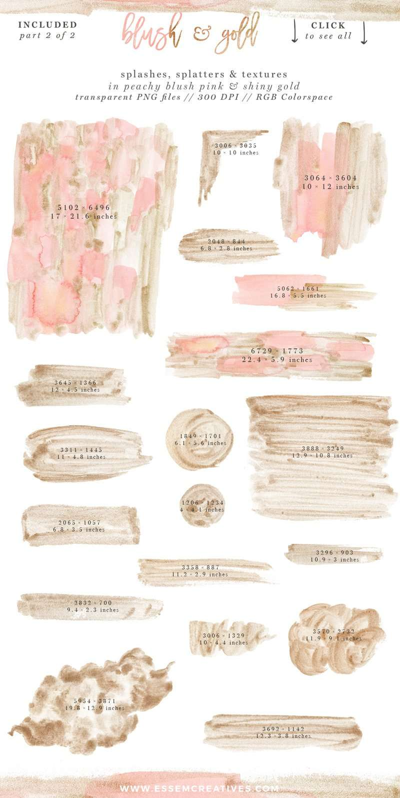 Blush Pink and Gold Watercolor Textures and Clipart for Wedding Invitations, Blush and Gold Branding | Perfect for watercolor blush and gold wedding invitations, save the dates, blush and gold branding, feminine logos for small creative businesses, blush and gold splashes paint strokes and texture clipart, packaging, website headers & banners, DIY crafts projects, and more. Click to check out this design kit which will make all your blush and gold dreams come true>>