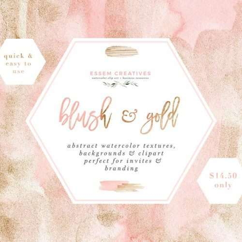 Blush Pink and Gold Watercolor Textures for Wedding Invitations, Blush and Gold Branding Clipart 11