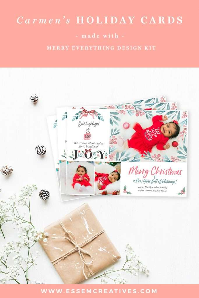 Carmen's-DIY-Watercolor-Holiday-Cards-with-Merry-Everything-Christmas-Clipart-Set | Stunning watercolor christmas cards made with Watercolor Christmas Clipart set. Click to see now>>