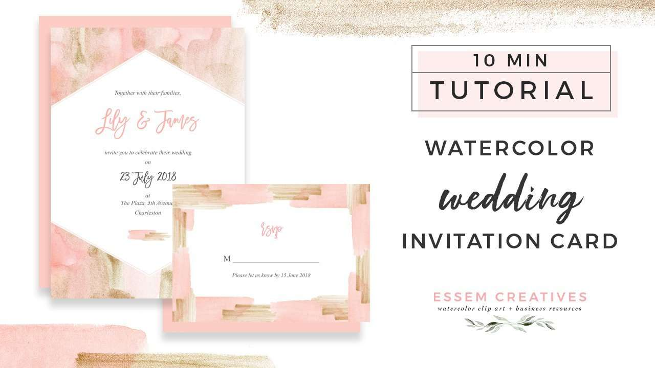 How to Make a Blush and Gold Watercolor Wedding Invitation on a Mac - quick and easy tutorial. You can even follow this DIY tutorial for creating birthday party invites, bridal shower invites, save the dates, and more. Click to check out this sweet 10 minute tutorial now>>