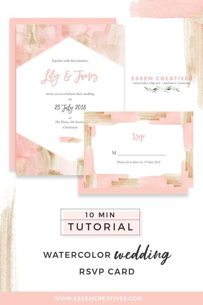 How to Make a Blush and Gold Watercolor Wedding Invitation RSVP Card on a Mac - quick and easy tutorial. You can even follow this DIY tutorial for creating birthday party invites, bridal shower invites, save the dates, and more. Click to check out this sweet 10 minute tutorial now>>