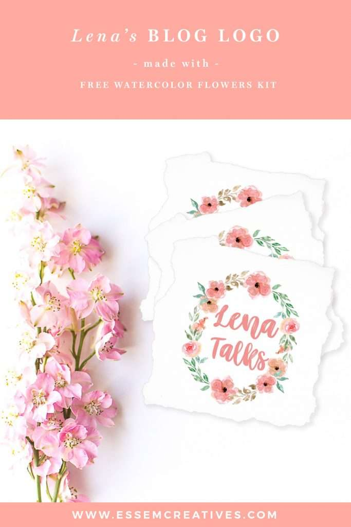 Watercolor-Flowers-Logo-for-Blog-Branding-with-Free-Clipart-Graphics | Check out this floral logo made with free watercolor wreath clipart