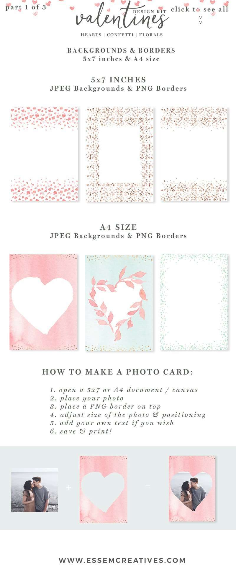 Watercolor Valentines Day Cards Heart Confetti Png Clipart