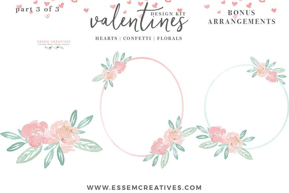 DIY Watercolor Valentine Day Cards Hearts Clipart Confetti PNG Borders Photo Card Templates