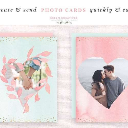DIY Watercolor Valentine Day Cards, Hearts Clipart, Confetti PNG Borders, Photo Card Templates | Use these watercolor hearts clipart, transparent confetti border PNG files, premade photo card templates, blush and mint florals in a soft & romantic style, to make valentines day cards greeting home decor & printables quickly & easy! Click to check it out now >>