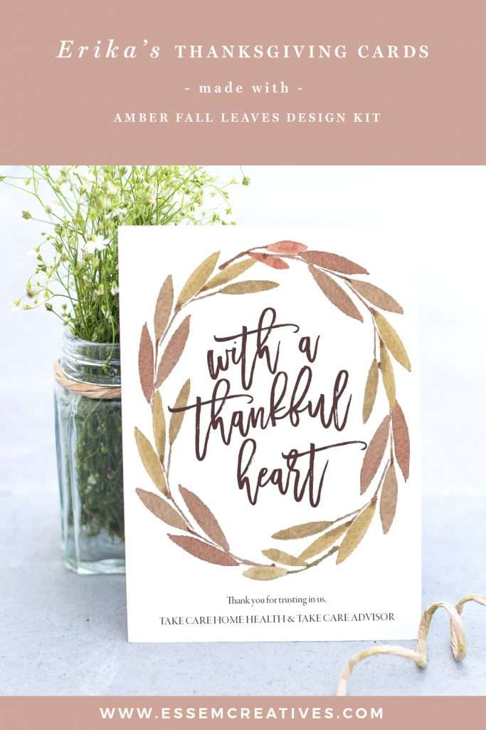 Watercolor Thanksgiving Cards for clients & loved ones | Erika made these DIY amber thanksgiving cards for her customers using Amber Watercolor Fall Clipart set and a lovely script font. Click here to see how you can make thanksgiving cards, invitation cards, thanksgiving decor and more>>