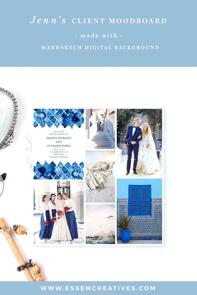 How a professional graphic designer used out Marrakech watercolor digital background to create a wedding moodboard for her client. Click here to see how you can get this effect>>