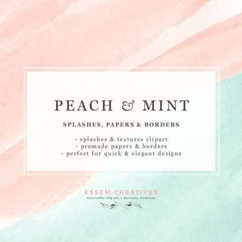 Peach and Mint Watercolor Splash Swash Splatters Clipart for Mothers Day Cards, Baby Shower Gender Reveal Party Invites Covers | Use these for watercolor wedding invitations, menu cards, DIY welcome signs, easter crafts, scrapbooking, watercolor logos, and more. These blush peachy pink and mint green watercolor splashes and designs are dreamy and whimsical and are perfect for modern graphic design projects. Click to see>>