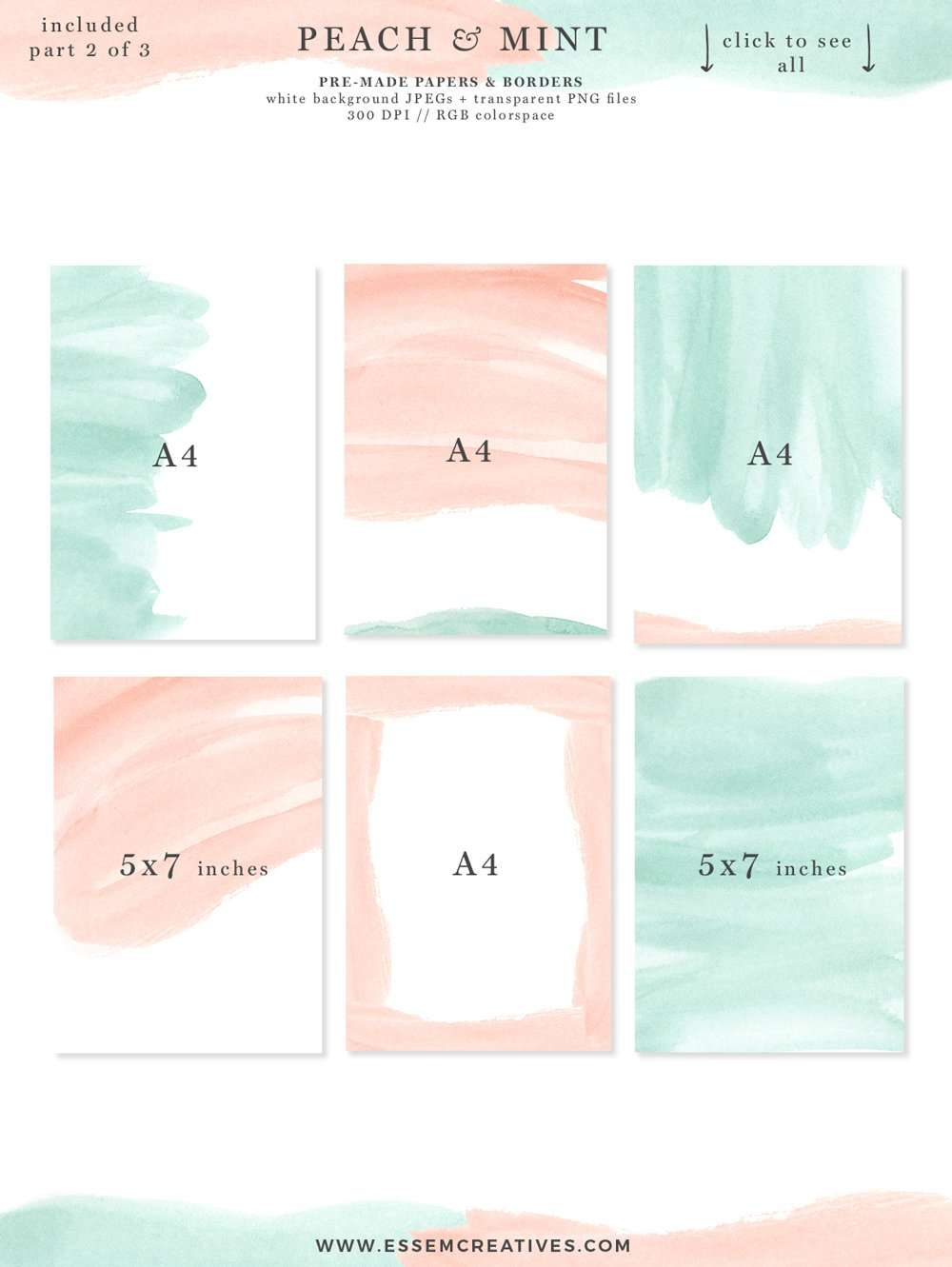 Peach And Mint Watercolor Splash Swash Splatters Clipart