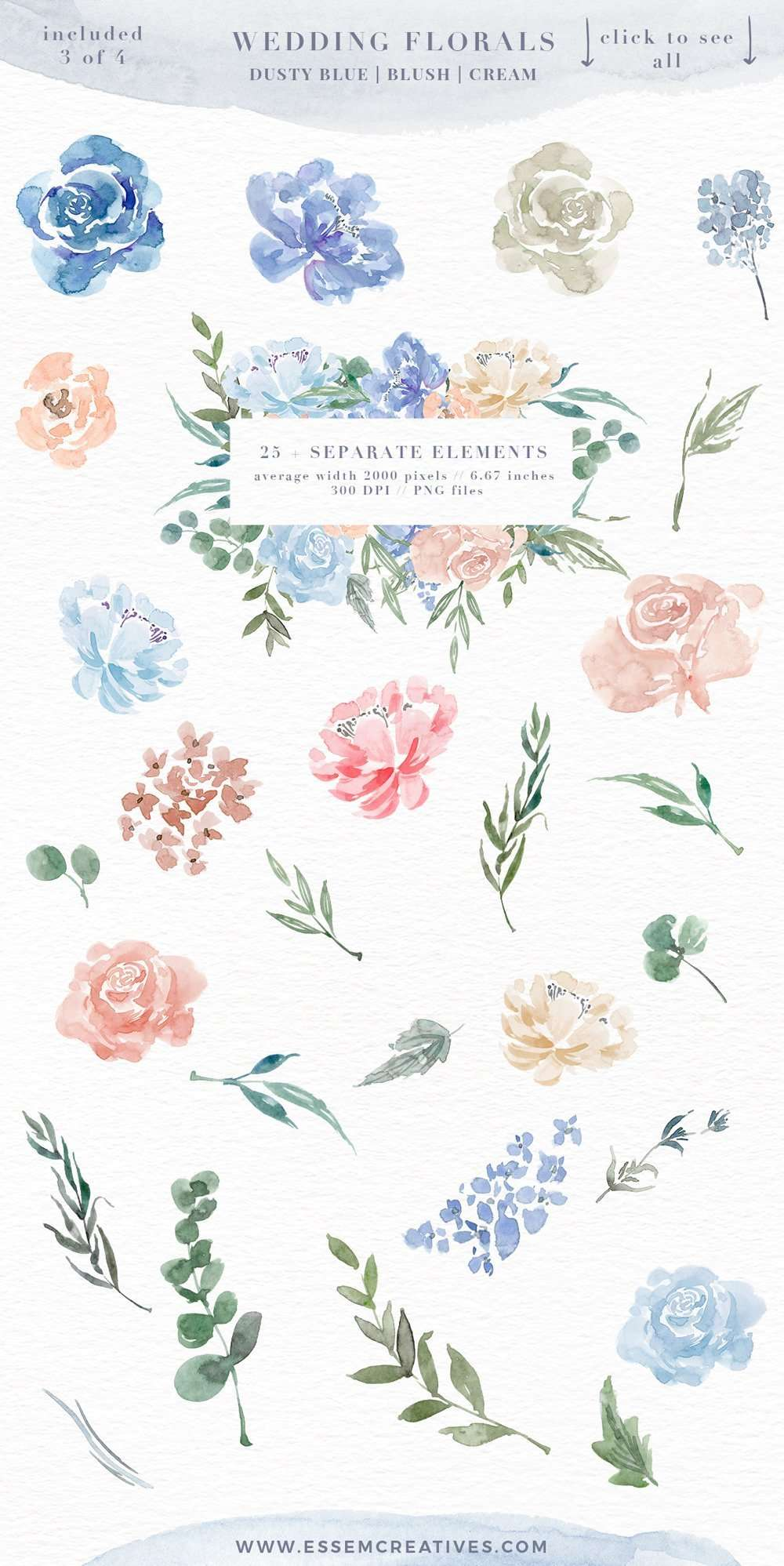 Watercolor Flowers PNG Clipart, Blue Watercolor Flowers Background ...