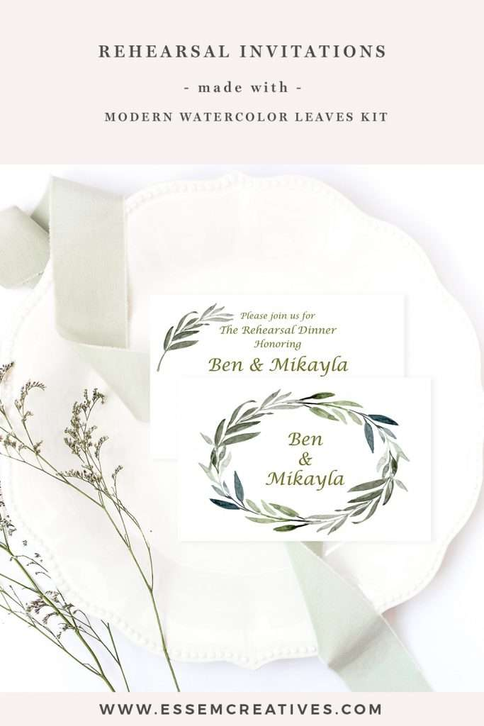 DIY Watercolor Wedding Rehearsal Invitations with Olive Branches and Greenery | Quickly make unique stationery for your event using our watercolor clipart graphics in under 10 minutes using software you already have. Click to see>>
