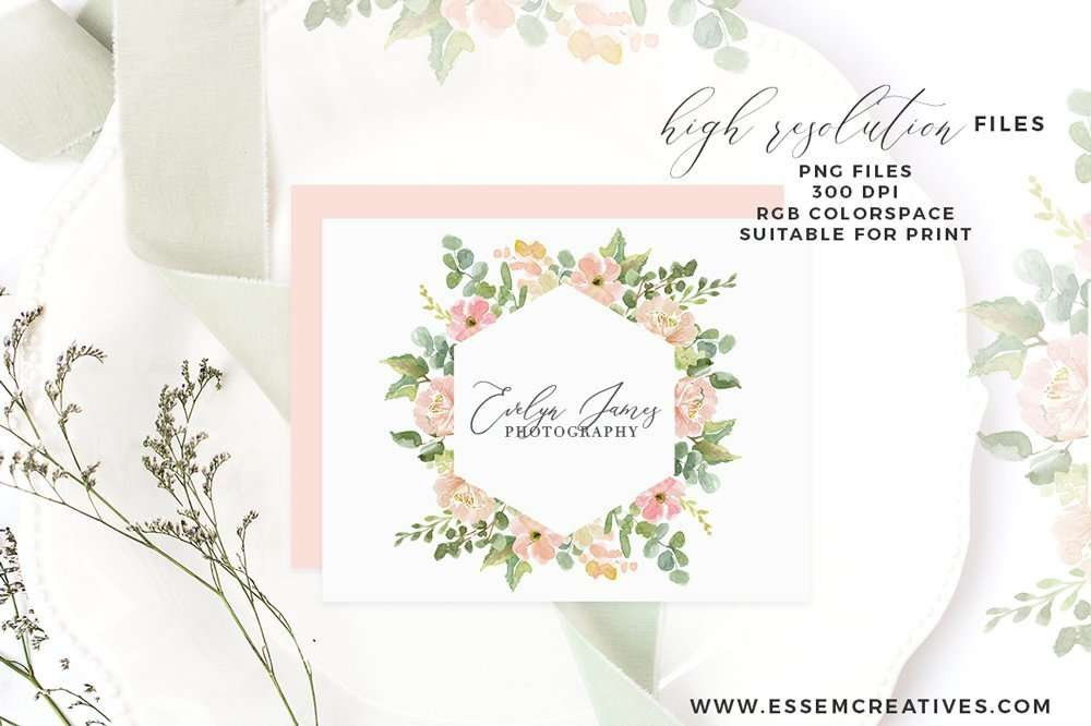 Watercolor Flower Border Clipart Romantic Blush Peony Floral Frame