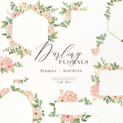 Watercolor Flower Border Clipart, Romantic Blush Peony Floral Frame PNG for Southwestern Wedding Invitations, Feminine Logos