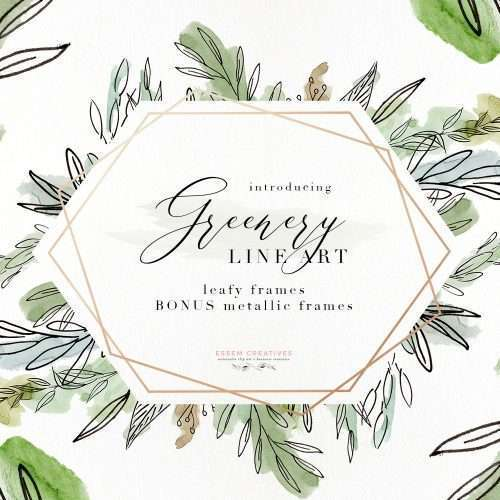 Watercolor Greenery Line Art PNG Clipart, Tropical Rustic Botanical Wedding Invitation Logo Branding