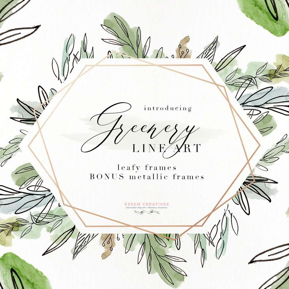 Watercolor Greenery Line Art Png Clipart Tropical Rustic