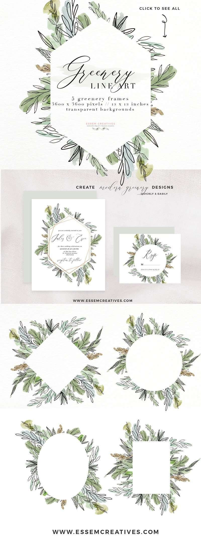 Watercolor Greenery Line Art PNG Clipart Tropical Rustic Botanical Geometric Rose Gold Wedding Invitation Logo