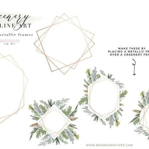 Watercolor Greenery Line Art PNG Clipart, Tropical Rustic Botanical Geometric Rose Gold Wedding Invitation Logo Branding | Perfect for Watercolor wedding invitations, save the date, bridal shower party, baby shower decor, greenery wedding tropical wedding woodland decor, rustic fine art modern botanical illustrations, scrapbooking paper, greenery borders. CLICK to see more and start creating>>