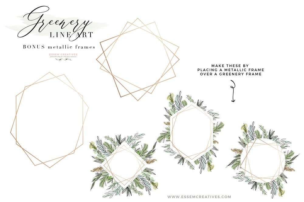 Watercolor Greenery Line Art PNG Clipart, Tropical Rustic